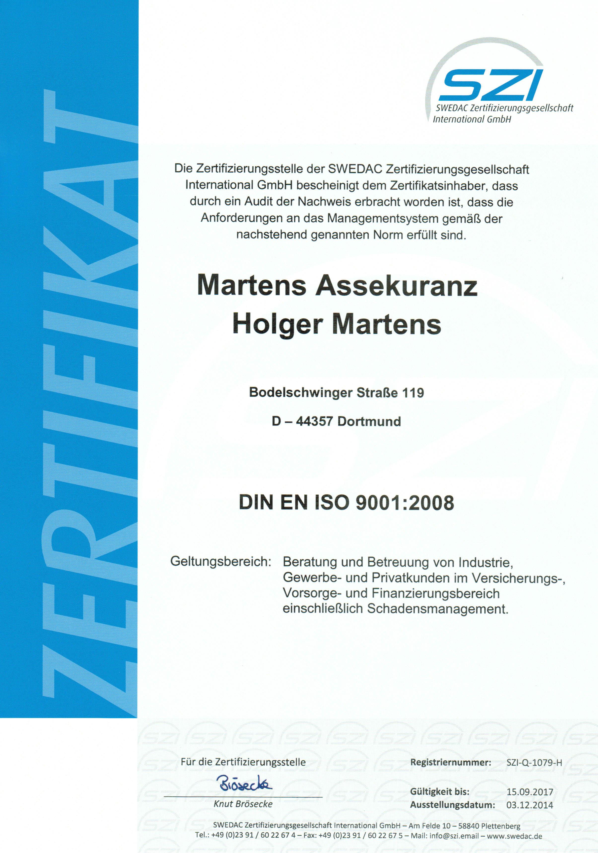 SZI-Q-1079-H Zertifikat Holger Martens Assekuranz